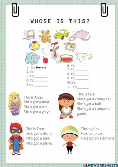 Interactive worksheet Whose are these toys?