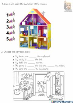 Ficha interactiva Prepositions in on under. toys, house.