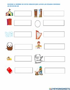 Interactive worksheet Inversas ar er ir or ur