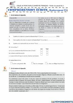 Interactive worksheet C. Écrite Renforcement  U2 3º ESO