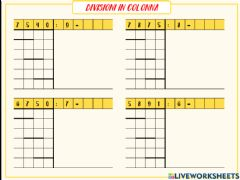 Interactive worksheet Divisioni in colonna