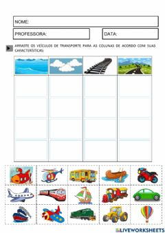 Interactive worksheet Meios de transportes