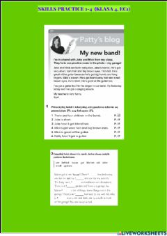 Interactive worksheet Skills practice english class a1 units 1-4