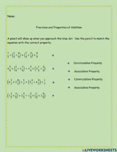 Interactive worksheet Properties of Addition to add Mixed Numbers