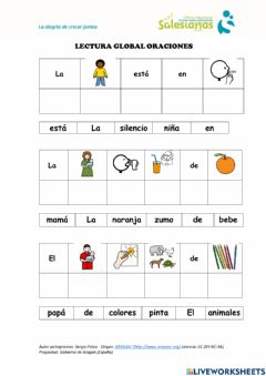 Interactive worksheet Lectura global oraciones