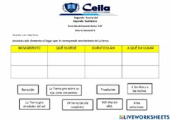 Interactive worksheet Movimiento de la tierra