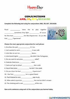 Interactive worksheet Conjunctions: and, but. or, because