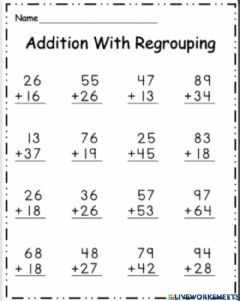 Ficha interactiva Add with Regrouping