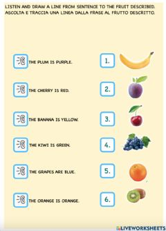 Interactive worksheet What color is the fruit?