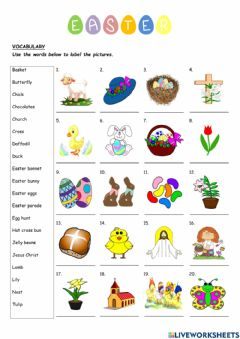 Interactive worksheet EASTER - Vocabulary