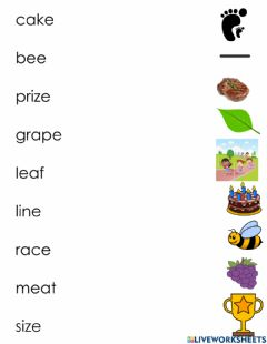 Interactive worksheet Short and Long Vowels Matching 2