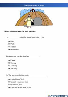 Interactive worksheet The Resurrection of Jesus