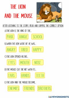 Ficha interactiva The lion and the mouse