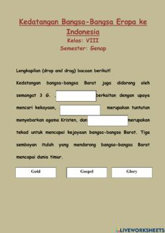 Interactive worksheet Kedatangan bangsa Eropa ke Indonesia