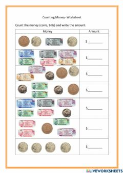 Interactive worksheet Counting Money