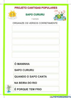 Interactive worksheet Projeto Cantigas populares