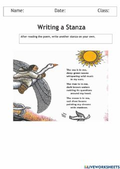 Interactive worksheet Writing another stanza