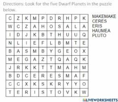 Interactive worksheet Planets