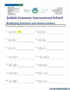 Ficha interactiva Multiplying Mixed Numbers and Fractions
