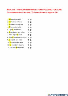 Interactive worksheet Complemento di termine