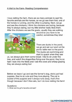 Interactive worksheet A Visit to the Farm- Reading Comprehension