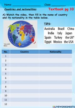 Interactive worksheet Eng Y5 Country