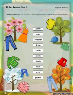 Interactive worksheet Clothes - 1.10.4°