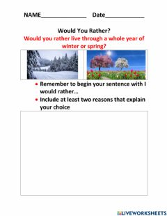 Interactive worksheet Would you rather
