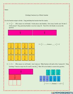 Interactive worksheet Dividing Fractions Using Fraction Strips and Number Lines
