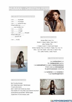 Interactive worksheet Human Christina Perri