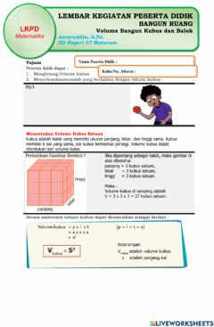 Interactive worksheet LKPD Volume Bangun Ruang