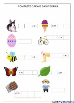 Interactive worksheet Complete as palavras