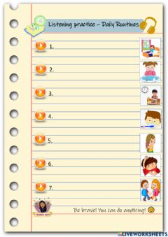 Interactive worksheet Listening practice - Daily Routines