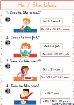 Interactive worksheet He - She likes!