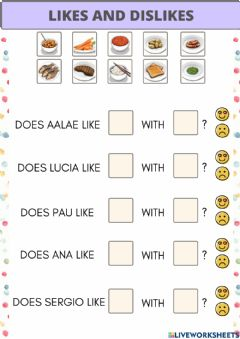 Interactive worksheet Likes and dislikes