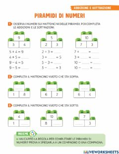 Interactive worksheet Piramidi di numeri