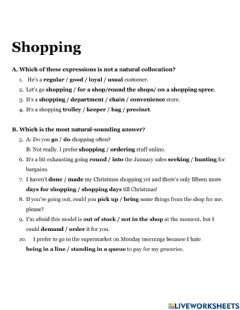 Interactive worksheet Shopping collocations