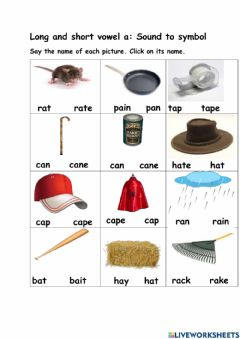 Ficha interactiva Long and Short vowel a