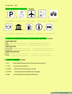 Interactive worksheet Test - To the Top Plus 2 - special category