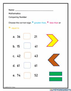 Interactive worksheet Comparing numbers to 80