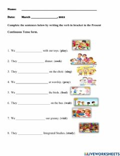 Interactive worksheet Plural Subject and Present Continuous