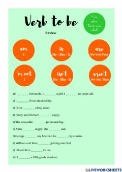 Interactive worksheet Verb to be review