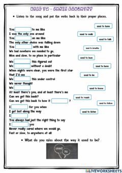 Interactive worksheet Used to - song by Chris Daughtry - Listening practice