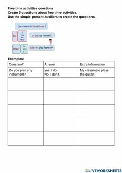 Interactive worksheet Do - Does yes no questions free time activities