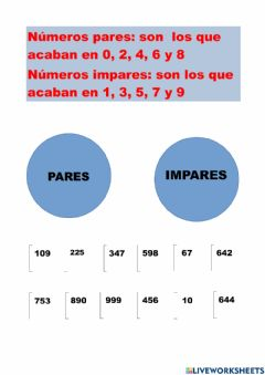 Interactive worksheet Números pares e impares