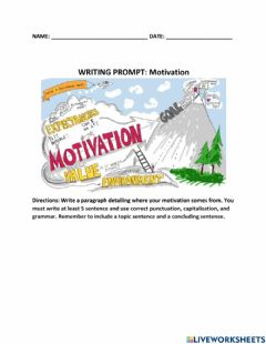 Interactive worksheet Writing Prompt: Motivation