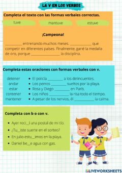 Interactive worksheet La v en los verbos.