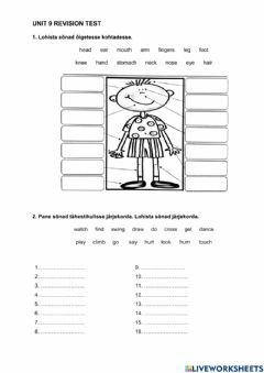 Interactive worksheet ILE1 unit 9 revision test