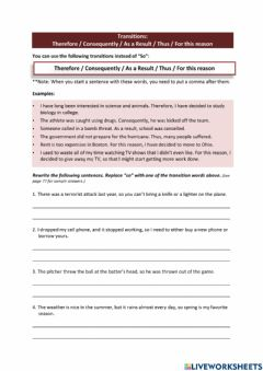 Ficha interactiva IELTS Writing 2 Lesson 06 - Decisions using Therefore