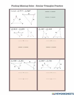 Interactive worksheet Finding Missing Sides - Similar Triangle Practice
